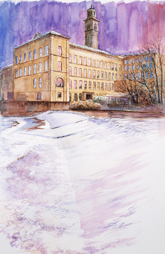 saltaire heritage mill and weir